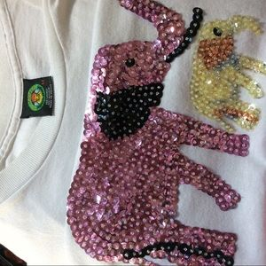 Vintage Tops - SEQUIN MOTHER DAUGHTER ELEPHANT TEE